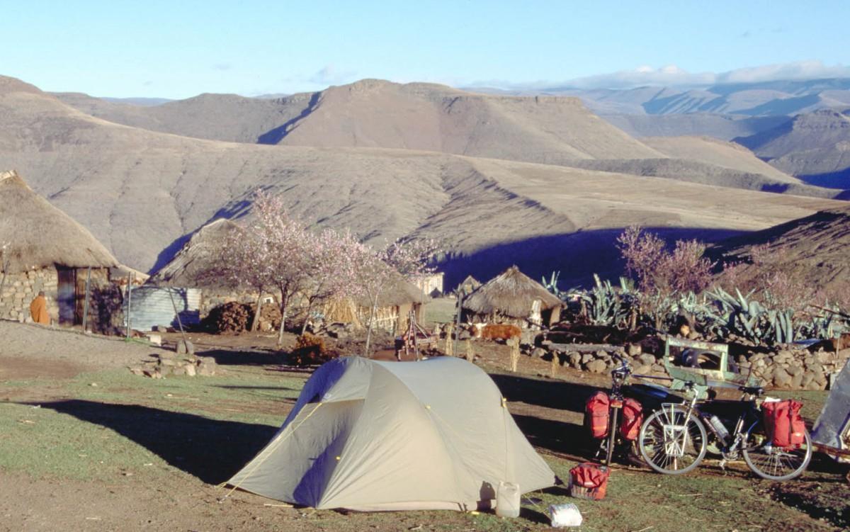 camping at a Lesotho village