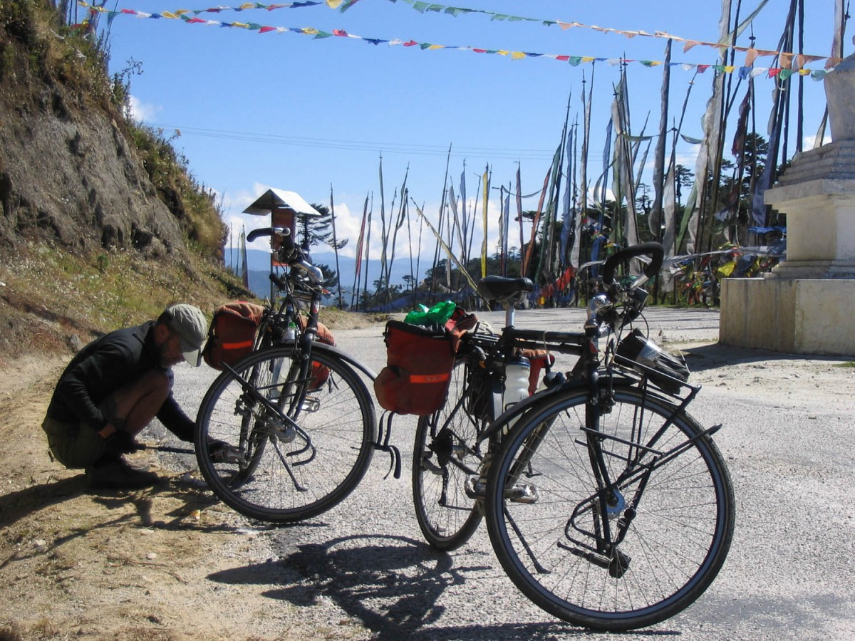 checking the bikes on one of the numerous mountain passes