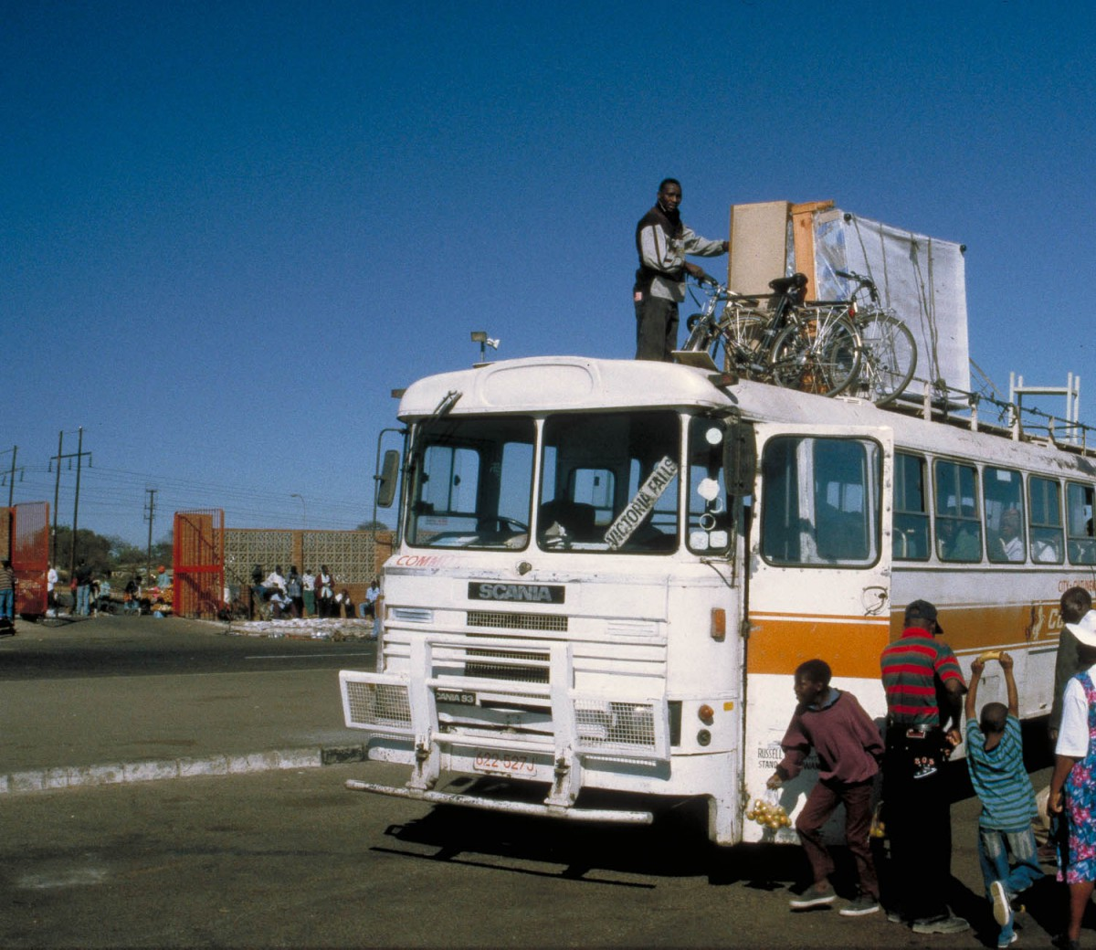 bicycles on top of the bus
