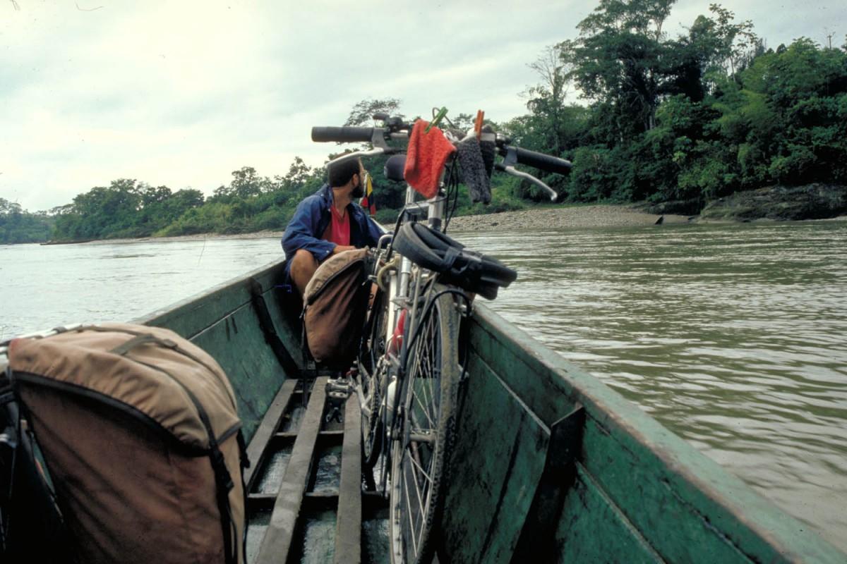 crossing the Rio Napo in a canoe