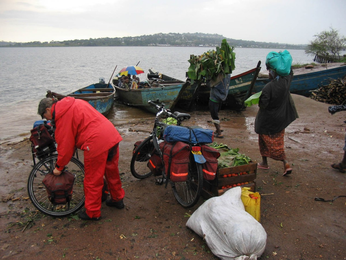crossing the river by fishing boat near Entebbe