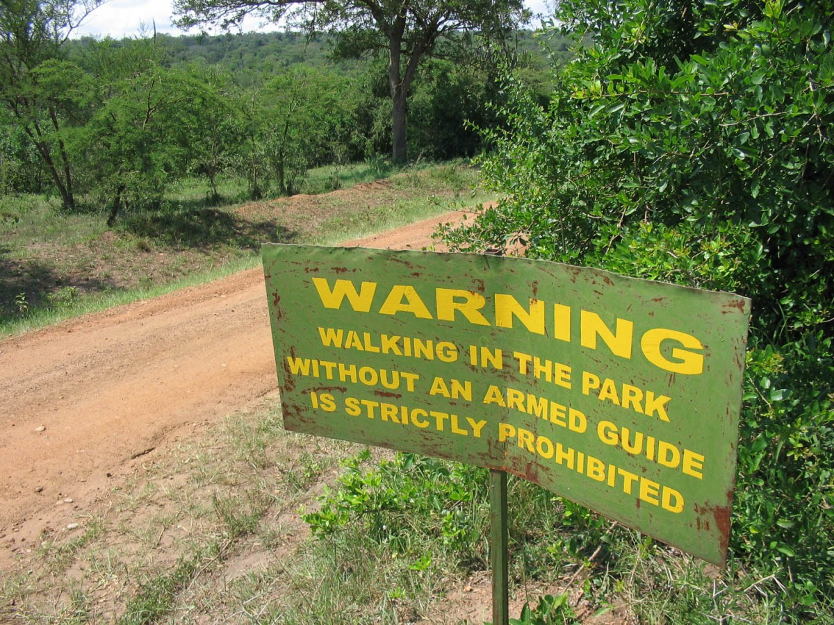 sign in Lake Mburo NP